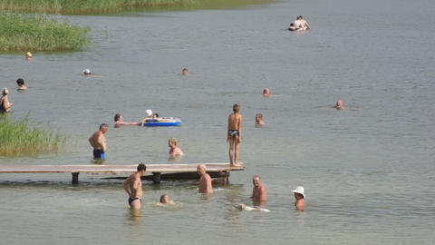 Lake Shunet People Bathing Stock Video Footage