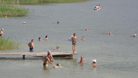 Lake Shunet People Bathing Stock Video Footage