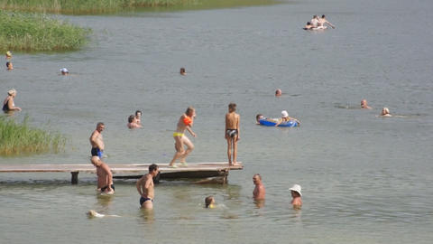Lake Shunet People Bathing stock footage