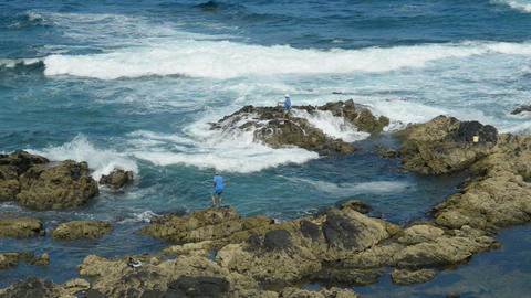 Fishing On A Rough Coast 11148 stock footage
