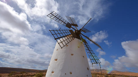 windmill and clouds time lapse tilt 11152 Footage