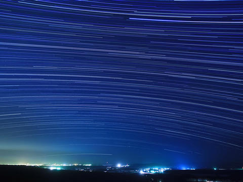 Stars above the city. Time Lapse. 4x3 Footage