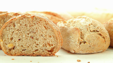 Fresh baked bread and rolls Stock Video Footage