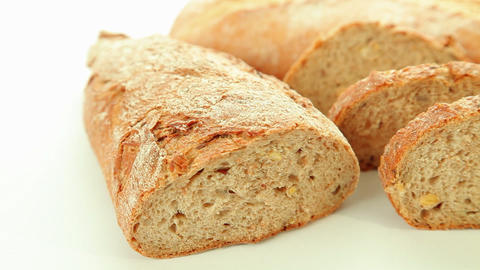 Bakery bread on white background Stock Video Footage