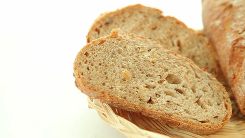 Fresh baked bread in basket Stock Video Footage