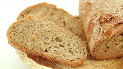 Fresh baked bread in basket Stock Video Footage