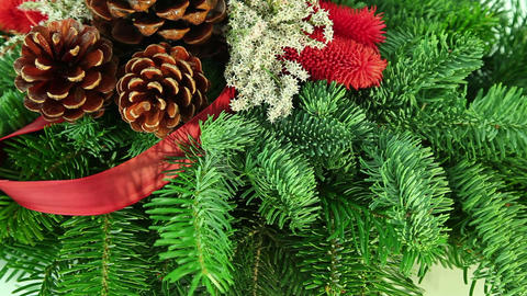 Christmas decoration background with tree branch Stock Video Footage