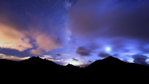 milky way clouds traffic in mountain time lapse 11 Stock Video Footage