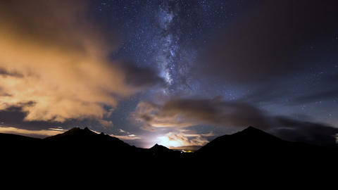 milky way clouds traffic in mountain time lapse 11 Footage