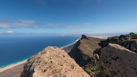 time lapse clouds top Pico de la Zarza tilt 11163 Stock Video Footage