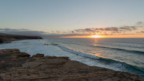 time lapse sunset la pared beach pan tilt 11167 Footage