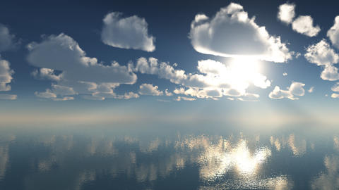 3d Animation Timelaps Clouds Over The Sea 1920x108 stock footage