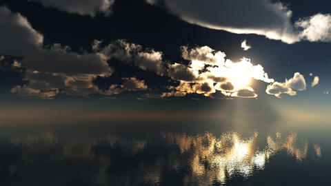 3d animation timelaps clouds over the sea 1920x108 Stock Video Footage