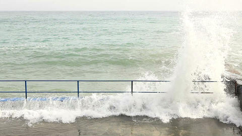 Waves beat against the shore Stock Video Footage