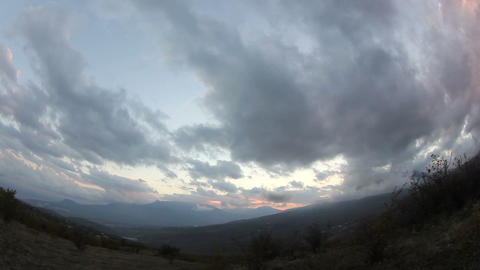 Movement of the clouds on the mountain Demerdji. A Stock Video Footage