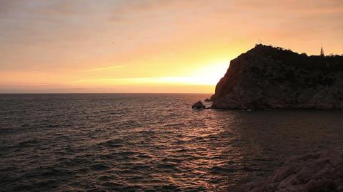 sunset in the mountains. Balaklava, Crimea, Ukrain Stock Video Footage