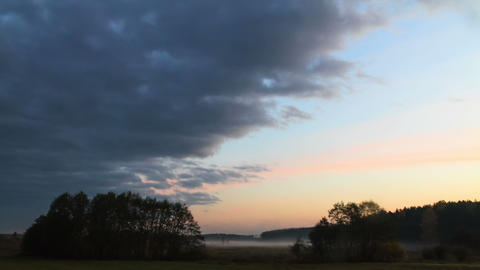 Morning mist clears. Time Lapse Footage
