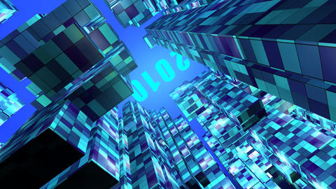 3d Animation Of The City New Year stock footage