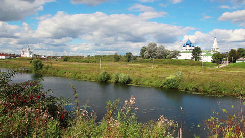 view on kremlin in Suzdal Russia Stock Video Footage
