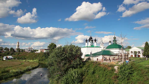 view on churches in Suzdal Russia - timelapse Stock Video Footage