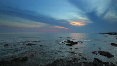 landscape with sunset over sea Stock Video Footage