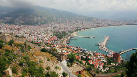 view from fortress on Alanya city - Turkey Stock Video Footage