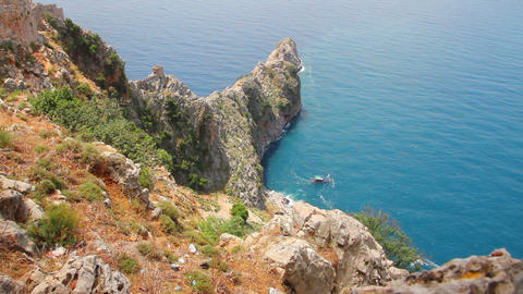 bay in mediterranean sea - view from fortress Alan Stock Video Footage