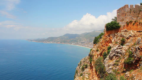 panorama of mediterranean sea - view from fortress Footage