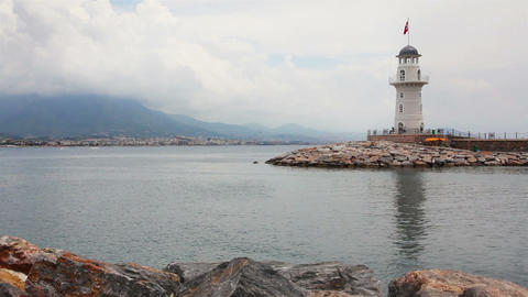 lighthouse in Alanya Turkey Footage
