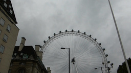 Capture full view of London Eye wheel from a dista Stock Video Footage