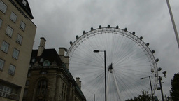 Capture Full View Of London Eye Wheel From A Dista stock footage