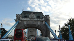 TRAFFIC MOVING TO & FRO LONDON TOWER BRIDGE (LONDO Stock Video Footage