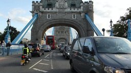 TRAFFIC MOVING TO & FRO LONDON TOWER BRIDGE (LONDO stock footage