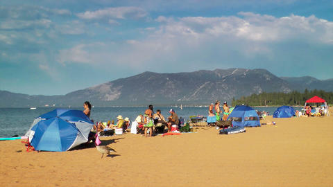 Lake Tahoe Beach Stock Video Footage