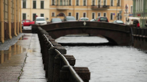 Rain in the old town Stock Video Footage