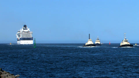 Tugboats returning from tender Stock Video Footage