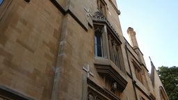 Pan From Roof To A Quiet Street Level Of Oxford. ( stock footage