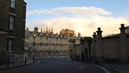 Street scene of Oxford University, UK Footage