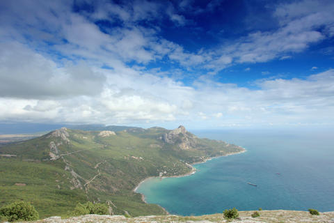4K. Movement of the clouds on the mountain bay Las Stock Video Footage