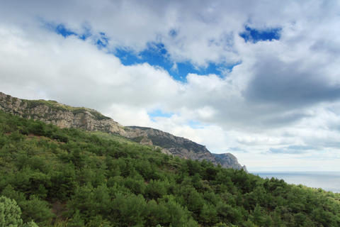 4K. Movement of the clouds on the mountain bay Aya Stock Video Footage
