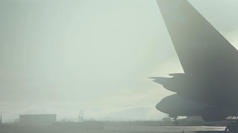 Misty morning at the airport Stock Video Footage