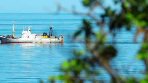fishing ship at sea Stock Video Footage