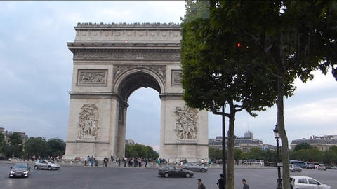 The world famous Arc de Triomphe in Paris, France. Footage