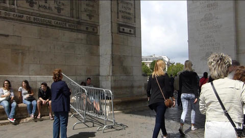 Large crowd at Arc de Triomphe. (PARIS Arc de Trio Footage