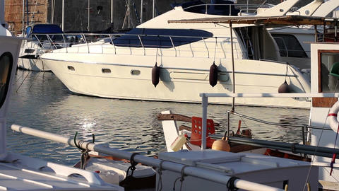 Sea port. Camera and fishing yachts Stock Video Footage