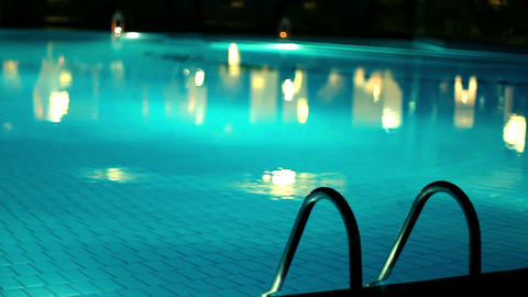 Swimming pool in the evening Stock Video Footage