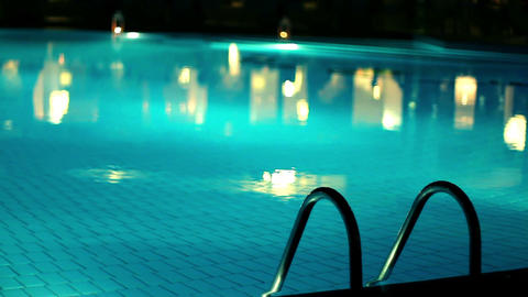 Swimming pool in the evening Footage