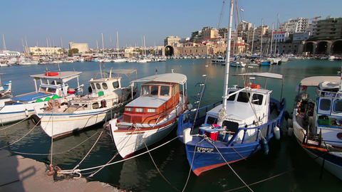 Sea port. Camera and fishing yachts Footage