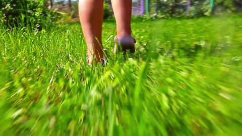 girl running on green grass Stock Video Footage