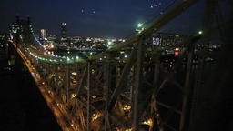 night city. bridge aerial view Stock Video Footage